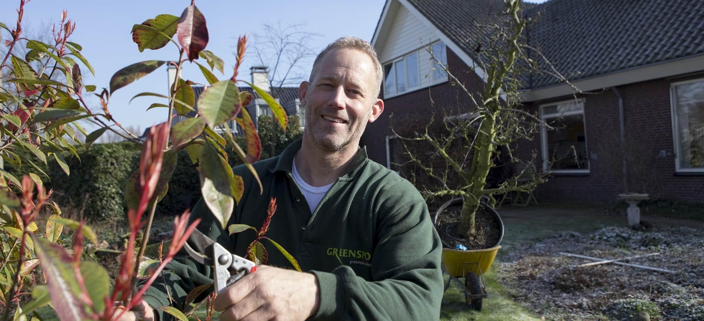 Tuin in aanleg met tuinman in groene sweater en snoeischaar