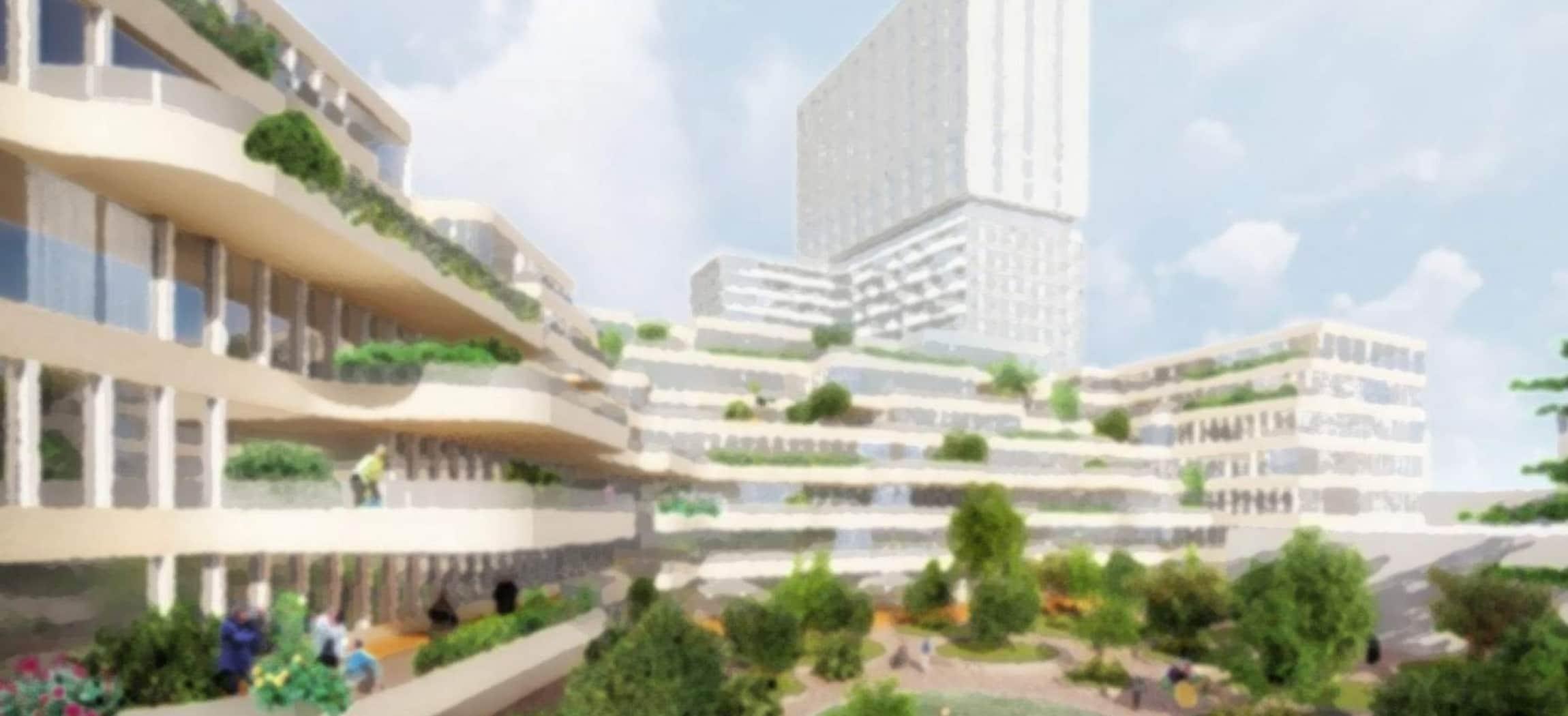 Tekening van hoogbouw met veel groen er omheen in omgeving Amsterdam-Zuid