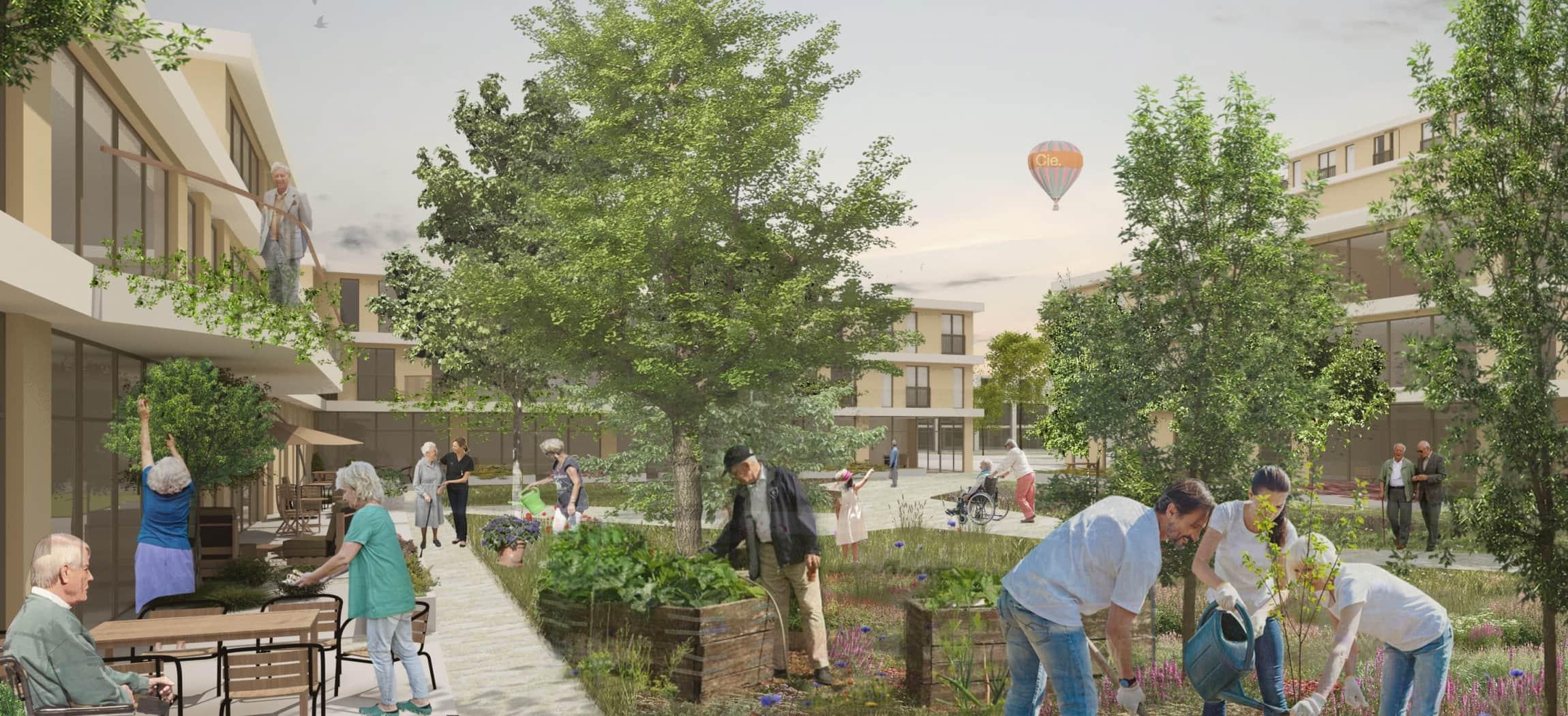Beeld van hoe de nieuwbouw Bornholm er ongeveer uit zou kunnen zien